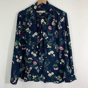 Loft tie neck blouse size Large